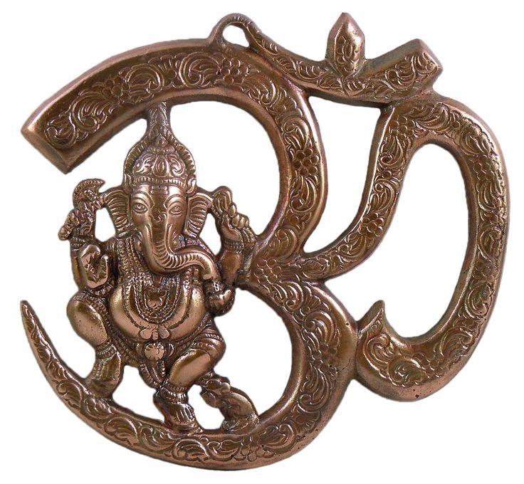 Ganesha Sitting on Om - Wall Hanging (Black Metal)