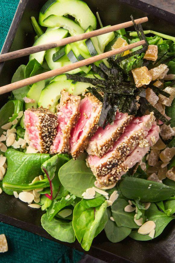 Sesame & Wasabi Crusted Tuna Salad with Ginger & Almonds — Foraged Dish