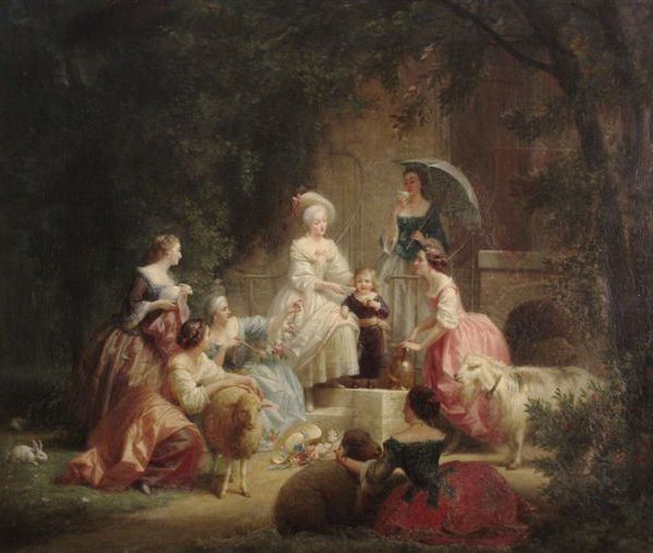 Marie Antoinette with the Dauphin and her ladies in Hamlet (1867, Charles-Gustave Housez)
