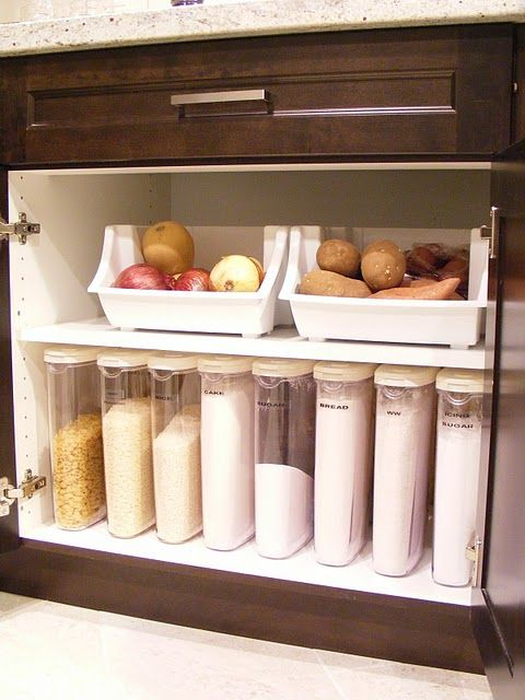 Love the idea of storing potatoes and onions in a cabinet instead of on the counter.