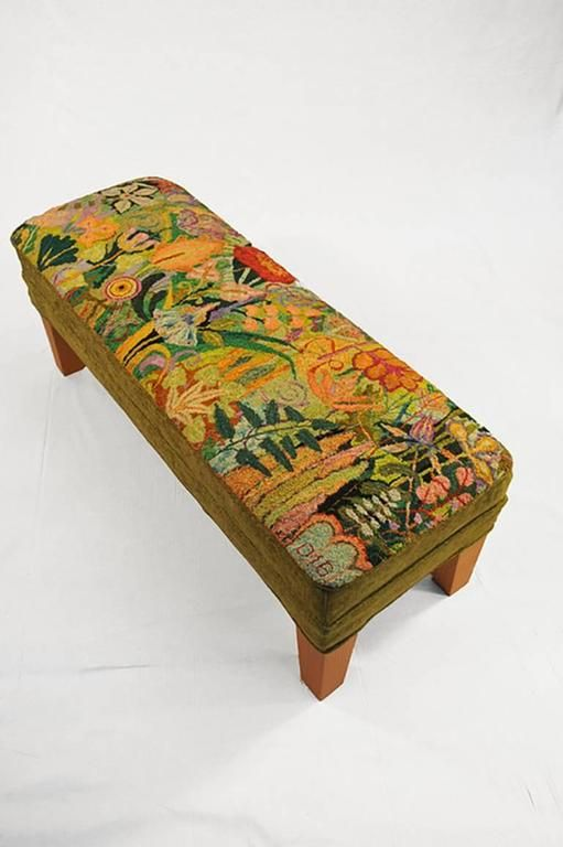 Sage (Hand- Hooked Rug Ottoman with Olive Green and Orange Floral motif) | From a unique collection of mixed media at https://www.1stdibs.com/art/mixed-media/mixed-media/