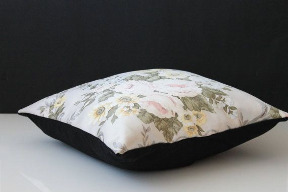 Pillow Cover Black Wool and Flower Fabric