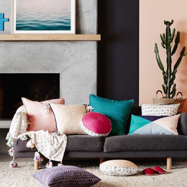 Round Pink Chainstitch Cushion with Monochrome Block Printed Reverse