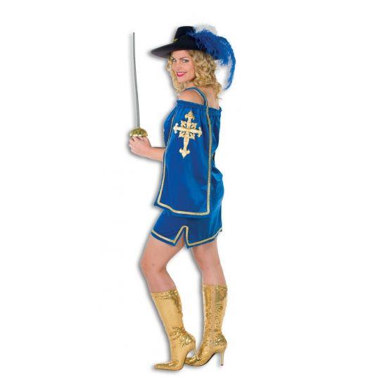 Blauw musketiers jurkje voor dames. Luxe musketiers jurkje van fluwelen stof met goude accenten en goudkleurig logo op de voorkant van de jurk. Dit musketiers jurkje is exclusief accessoires.