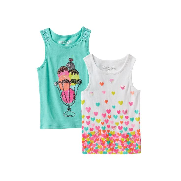 Toddler Girl Freestyle Revolution 2-pk. Sequin Ice Cream Cone Tank Top & Sequin Hearts Tank Top, Ovrfl Oth