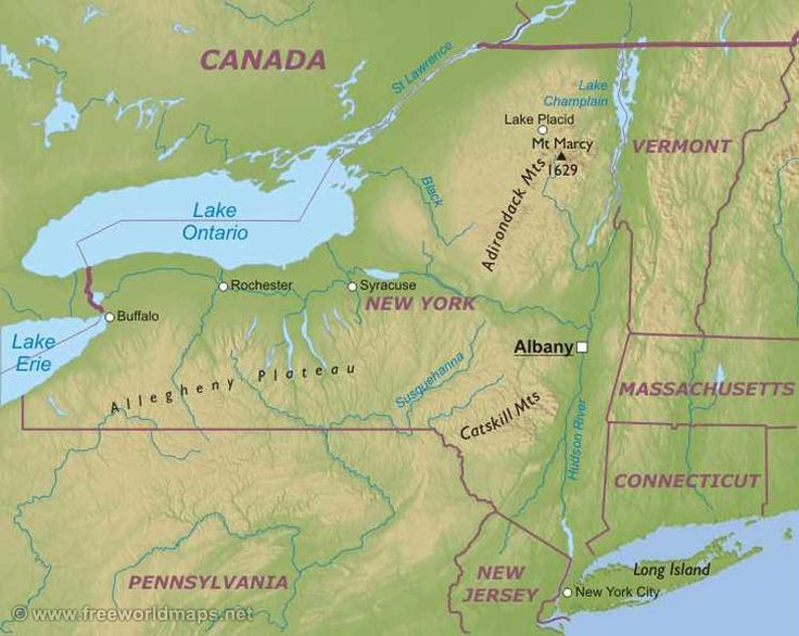Нью-Йорк штат : Нью-Йорк (англ. New York) — штат на северо-востоке США, на Атлантическом побережье, у границы с Канадой, крупнейший в группе Средне-Атлантических штатов. Площадь штата — 141 тыс. км², из них более 18 тыс. км² заняты внутренними водами.