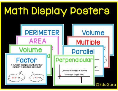 "Mathematics Definition Posters Full Version from EduGuru on TeachersNotebook.com -  (31 pages)  - This is a set of 29 (and more to follow) colorful printable A4 posters to ""spice up"" your mathematics classroom.  They cover mathematics definitions that meets common core standards."