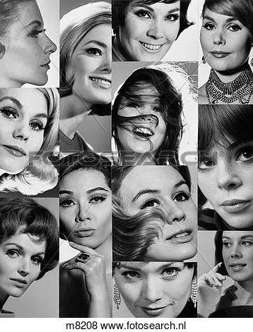 1960S, 1970S, montage, van, close-up, portretten, van, vrouwen, hoofden, eyes, neuzen, monden, haar Bekijk Grotere Foto