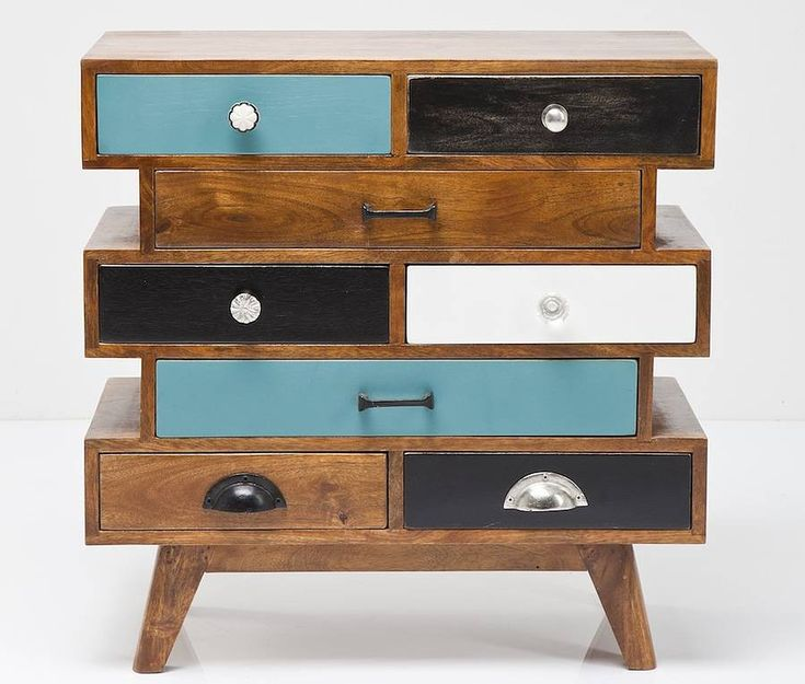Bohemian mango wood eight drawer dresserCan be easily combined with other items from our Upcycled furniture rangeThis eclectic and colourful chest of drawers is decorated with an array of mis-matched drawer knobs and handles Brightly coloured and super stylish, a unique piece suitable for any room Lacquered mango wood frame with mid century style Free delivery on this item for Mainland UK, for other UK delivery please contact us for a delivery quote *We do not always carry this item in…