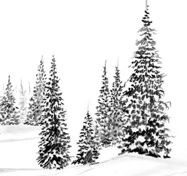 Les 25 meilleures id es de la cat gorie dessin montagne - Dessiner un paysage d hiver ...