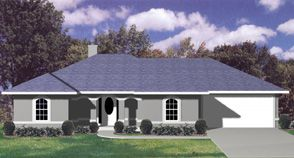 "house plans, ranch, hip roof stucco | The ""WAVERLY"" with a Stucco Exterior and Arches with a Full Hip Roof.."