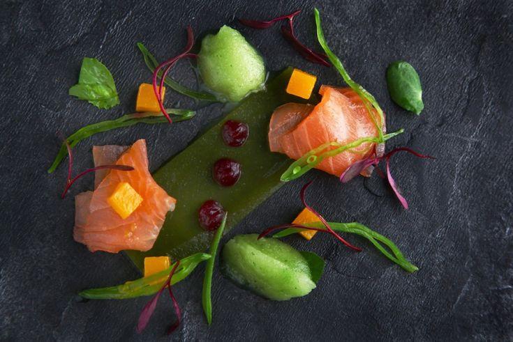 Self cured Nuwejaarsrivier trout celery sorbet, mange tout & pea shoot jelly, beetroot gel