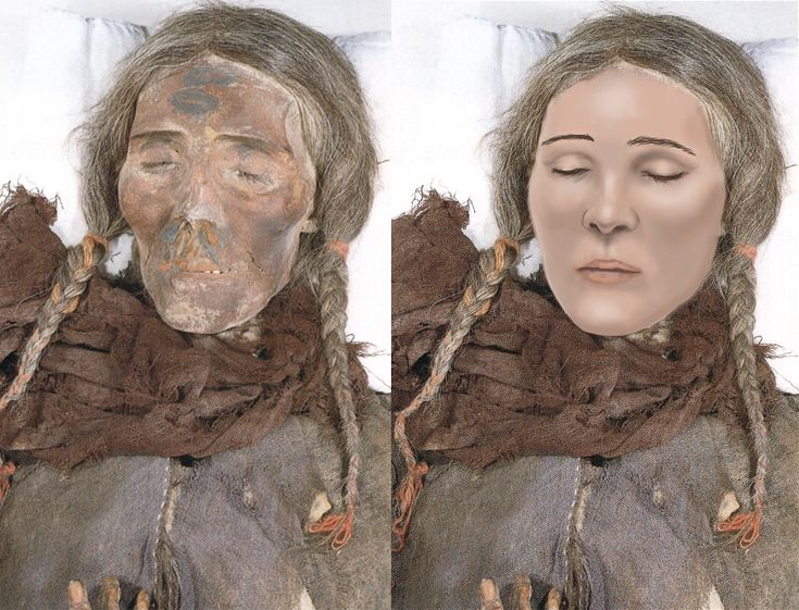 An artist depicts what a Celtic mummy found in China may have looked like thousands of years ago on the ancient silk road. Hundreds of ancient Europeans were lost in the Taklamakan Desert in the region of Xinjiang, western China. The woman pictured was accompanied by the mummy of a reddish brown haired Celtic man with a ginger beard. He was buried wearing a red twill tunic and tartan leggings. The woman's face was painted with curling designs presumed for burial.