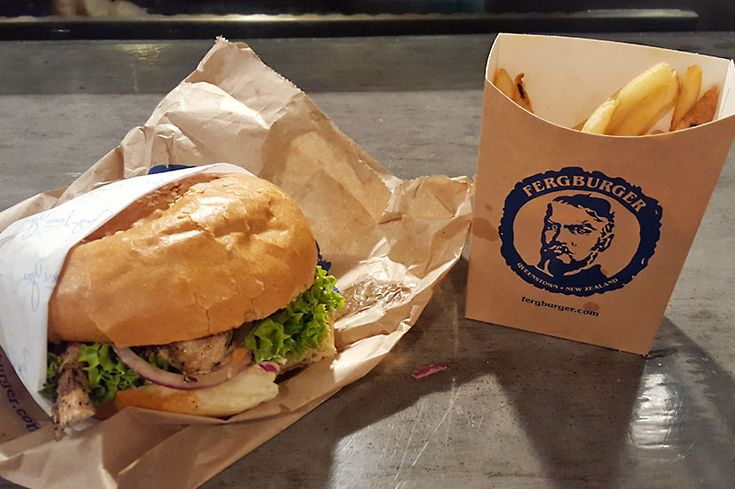 Burger and fries at the legendary Fergburger in Queenstown, New Zealand