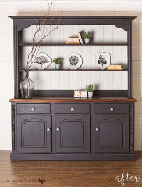 Brown And Grain Sack Hutch