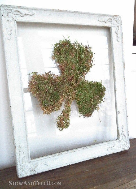 Use the glass and frame only from a vintage frame to make an easy floating glass framed moss shamrock or any moss shape that works for you. Rustic, simple look for St Patrick's Day or Spring decor - StowandTellU.com