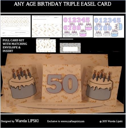 A triple easel card with one straight and two twisted easel panels. A large DL card 9 x 26 cm when closed. I designed the card for a joint birthday celebration for Mr and Mrs so the card included birthday numbers and birthday cakes in both blue and pink for you to mix and match as required. The kit comprises 6 sheets : 1) Numbers 0-9 and birthday cake with decoupage in pink 2) Numbers 0-9 and birthday cake with decoupage in blue 3) Envelope back 4) Envelope front 5) Topper panels and…