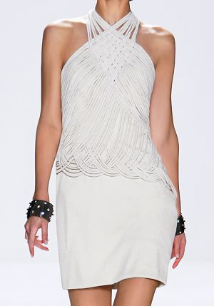 Tadashi Shoji Spring 2010 RTW Hammered Silk Crepe and Jersey Macramé Halter Dress Profile Photo