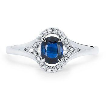 Oval Blue Sapphire U0026 Diamond Ring 14kt White Gold