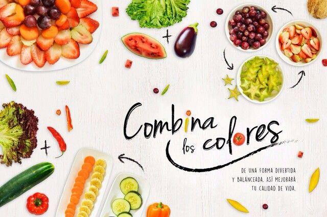 Pieza grafica:  Combina el color de tus frutas y verduras, alimentaté bien. By: Juliana Bravo y equipo de trabajo.
