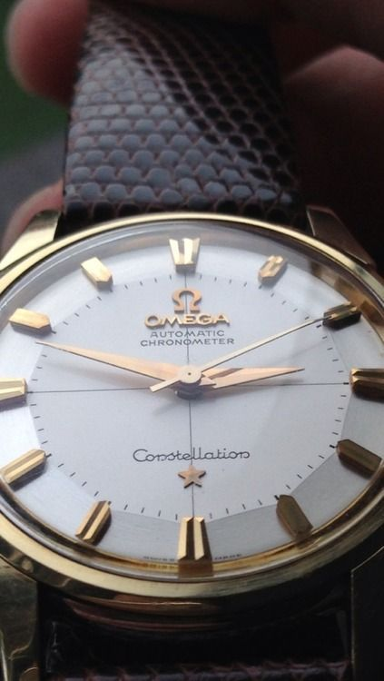 Gorgeous Vintage Omega Constellation Pie Pan, Gold Markers, White Dial http://caponeshop.it/en/brand/omega