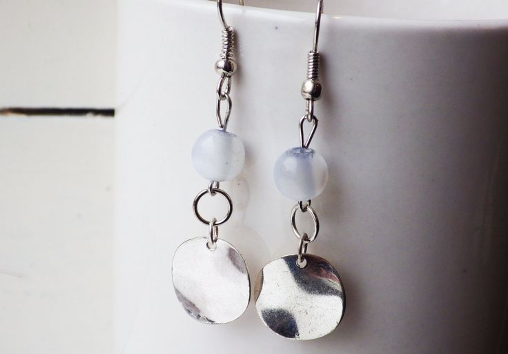 Translucent Bead and Silver Disc Earrings by studioCworkshop on Etsy