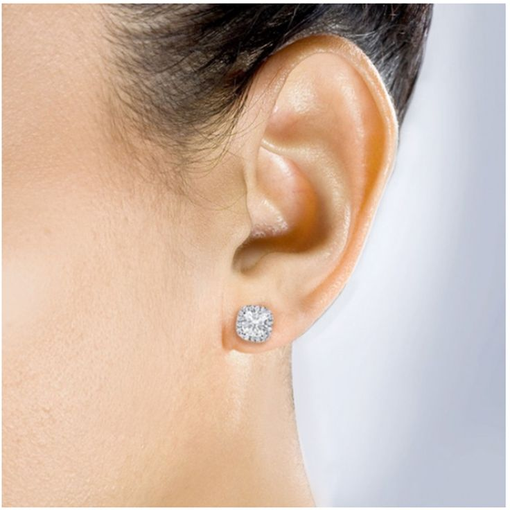 2.50Ct Diamond Earrings 14K White Gold Stud Cushion Cut VVS1/D Brilliant 2041 | eBay