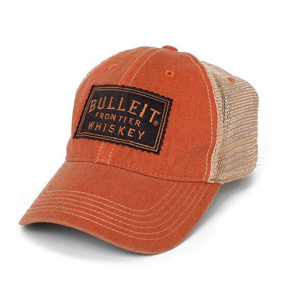 Bulleit Bourbon Whiskey Signature Orange Cotton Twill Trucker Hat Cap Bulleit Mens Hats Fashion Hats For Men Mens Trucker Hat