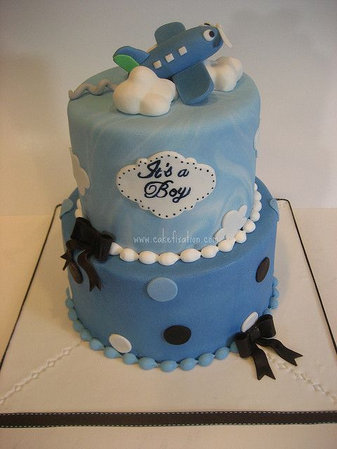 Airplane Baby Shower Cake by Stephanie (Cake Fixation), via Flickr
