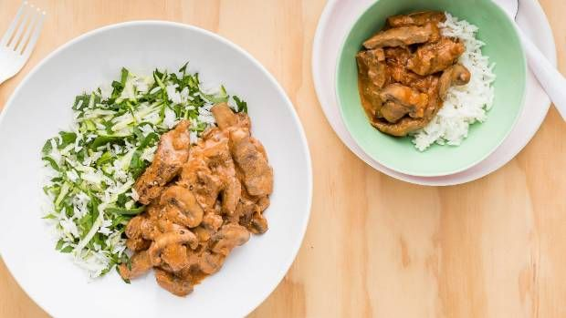 Beef Stroganoff with spinach rice.