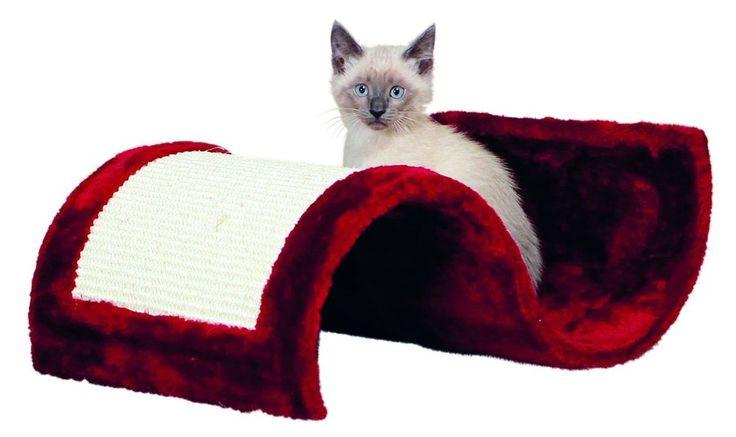 Pet Kitten Cat Scratching Board Wave Sisal Bordeaux White Colour Plush Cover Mat