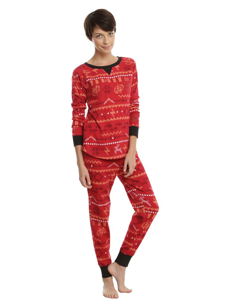 """<div>There's nothing more magical that winter at Hogwarts. There's also nothing colder. Bundle up! This red thermal set features a Fair Isle inspired design with wands, golden snitches, owls, and more!<br></div><div><ul><li style=""""list-style-position: inside !important; list-style-type: disc !important;"""">100% cotton</li><li style=""""list-style-position: inside !important; list-style-type: disc !important;"""">Wash cold; dry low</li><li style=""""list-style-position: inside !important; list-styl..."""
