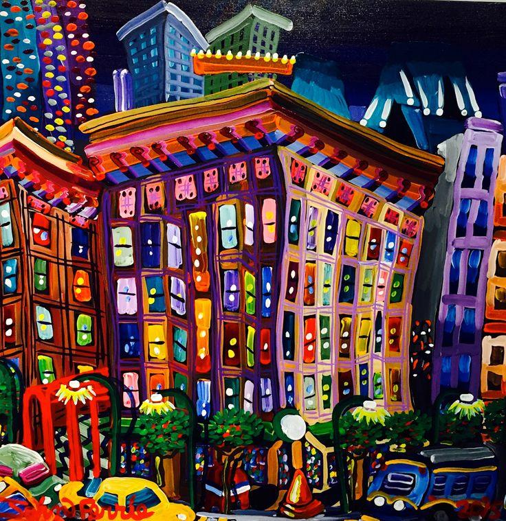 "The Manhattan, 36"" x 36"", acrylic on canvas with Krink, 2015"