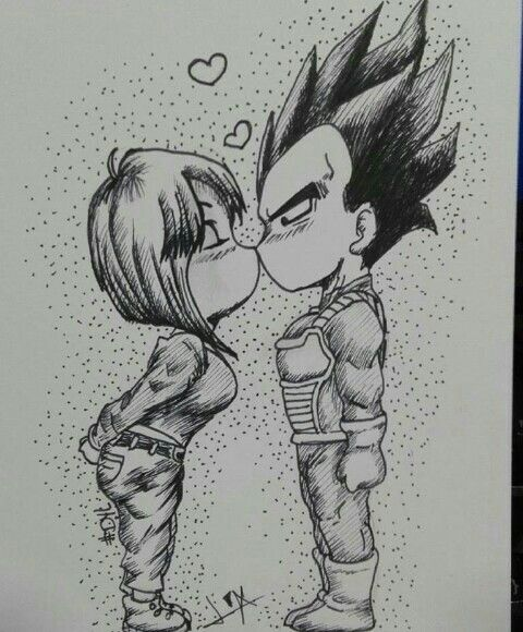 Végéta Bulma couple amoureux dessin