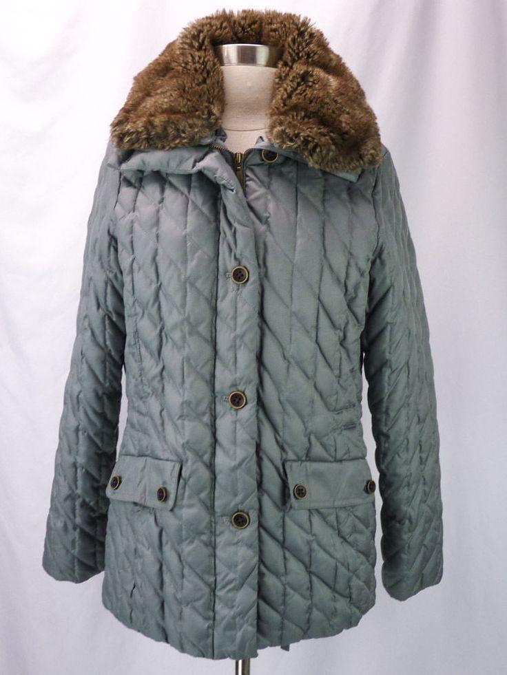 Eddie Bauer Quilted Gray Premium Goose Down Coat Detachable Faux Fur Collar (S) #EddieBauer #QuiltedCoats