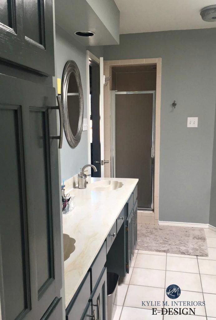 Bathroom Magnetic Gray Painted Oak Cabinets Almond Bone Fixtures Kylie M E Design Onlin Simple Kitchen Remodel Kitchen Remodel Layout Painting Oak Cabinets