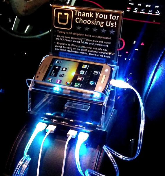 Uber Lyft Sign & Tip Box with 5 USB port Rapid Charging Station +4 cables