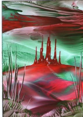 red sky at night one of my encaustic art paintings