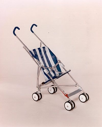 Great British Inventions - The Collapsible Baby Buggy (1965). Owen Maclaren, the man who during WW2 helped design the Spitfire's folding undercarriage, solved the pram problem after seeing his daughter struggle with an unwieldy pushchair. Today, a modern version of his light-weight, foldable buggy is sold in more than 50 countries.