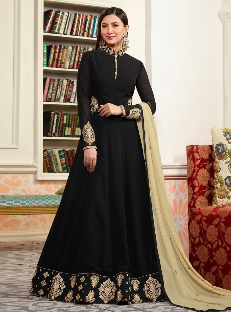 Gauhar Khan Black Faux Georgette Floor Length Anarkali Suit 126527