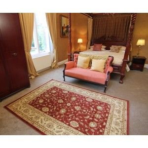 Stain resistant Traditional Rug http://www.therughouse.co.uk/traditional-rugs/traditional-tile-red-leaf-design-rug-7709-westbury.html