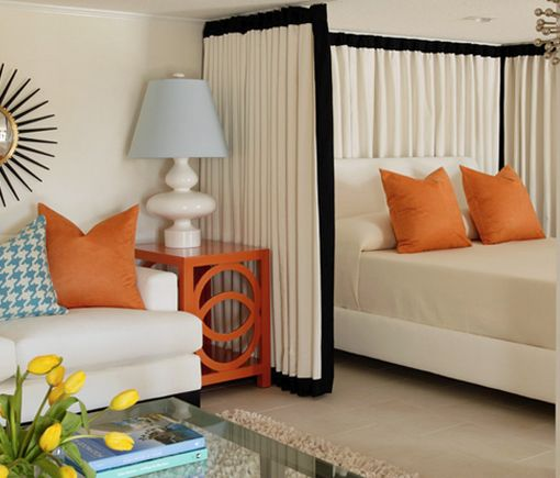 Turn Curtains Into Walls. This Is Cool Way To Use Curtains As Walls. Having  The Curtains Wrap Around The Bed Really Defines The Sleeping Space From The  ...