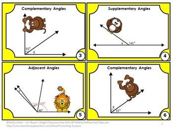 FREE Geometry: You will receive 6 common core math task cards focusing on geometry angles. Students are given an angle image and must find the missing angle. Angles include complementary, supplementary, adjacent and vertical.  https://www.teacherspayteachers.com/Product/Geometry-FREE-Download-Games-Angles-Task-Cards-Supplemental-Complementary-1366065