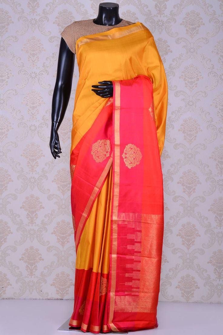 Sunset yellow beautiful kanchipuram silk saree with pink border-SR15444 - Pure…