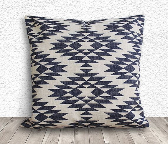Pillow Cover, Aztec Pillow Cover, Tribal Pillow Cover, Linen Pillow Cover  18x18
