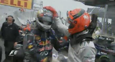F1 legend, Schumacher congratulating Sebastian Vettel - the Formula 1 youngest triple world champion.    via - twitter | @F1grid