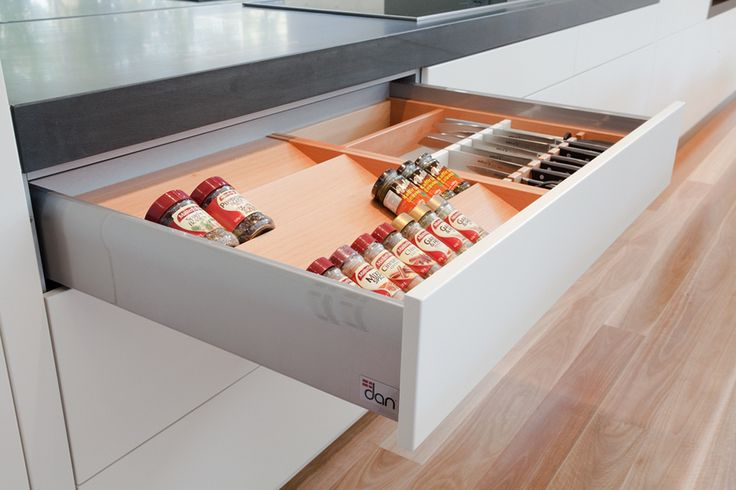 Spice rack and knife drawer organisers  Burraneer Project – Dan Kitchens