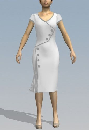 Rockabilly Button Wiggle Dress by Amber Middaugh