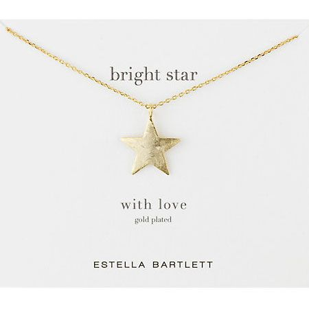 Estella Bartlett Large Gold Plated Bright Star Necklace. A charming five point gold plated star pendant on a fine chain necklace from Estella Bartlett.  Chain Length: 41cm