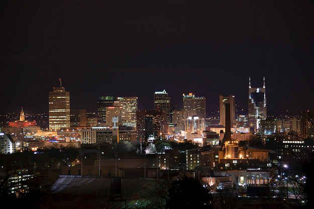 Soak in that mystical Nashville skyline at night from Love Circle.